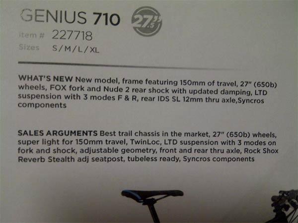 La primera en aparecer (aunque no la última) Scott con ruedas 650B: Scott Genius de 2013
