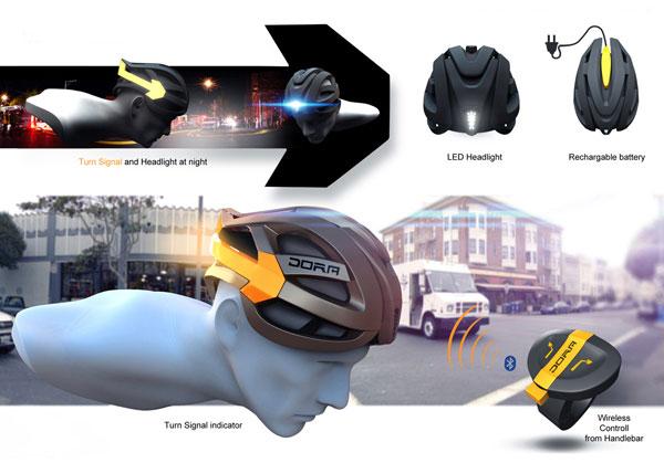 DORA: Un increíble casco para ciclistas con iluminación integrada. ¿Serán así los cascos del futuro?