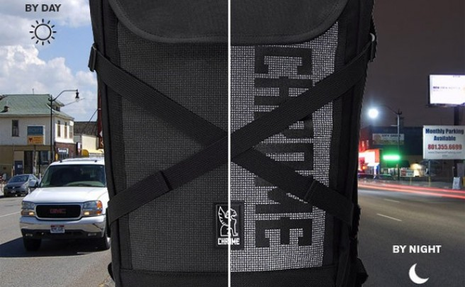 Chrome Bravo Night: Una mochila oscura por el día, brillante por la noche
