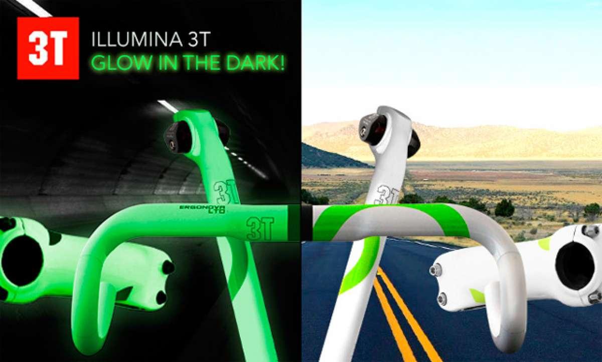 Manillares, potencias y tijas que brillan en la oscuridad con el nuevo acabado 'Illumina' de la firma 3T