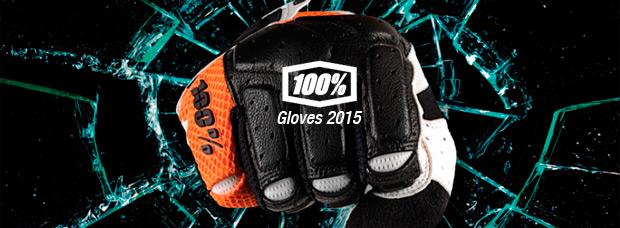 Catálogo de 100 Percent 2015. Toda la gama de guantes 100 Percent para la temporada 2015