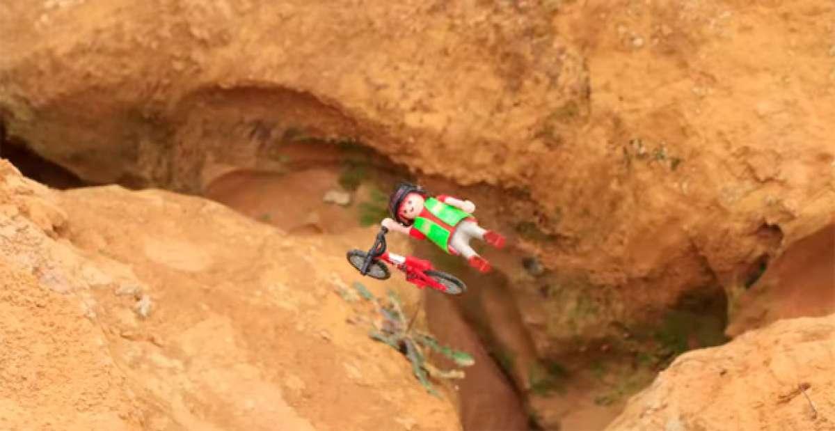 "Extreme Toys: Interesante ""Stop Motion"" con muñecos de Playmobil practicando Mountain Bike extremo"