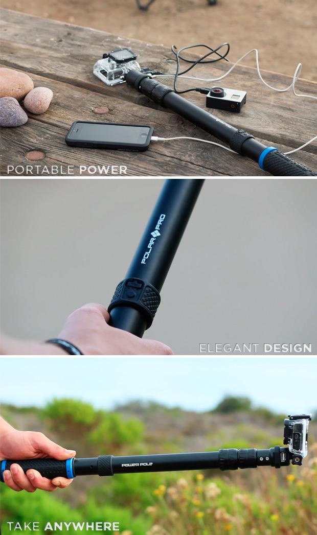 PowerPole, un soporte extensible que multiplica por cinco la autonomía de las cámaras GoPro