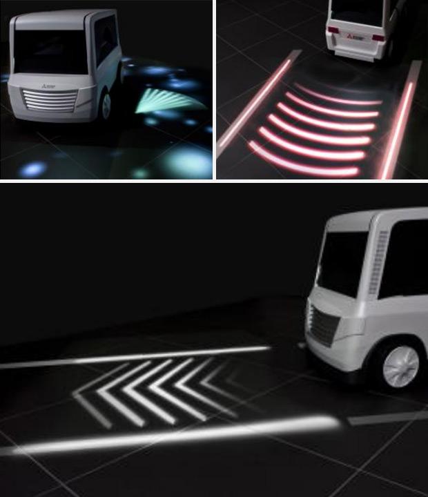 Indicaciones luminosas proyectadas en la carretera, un avance más en la seguridad vial a cargo de Mitsubishi