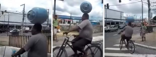 Un ciclista brasileño + Una bombona de gas + Un semáforo en rojo = Equilibrio imposible