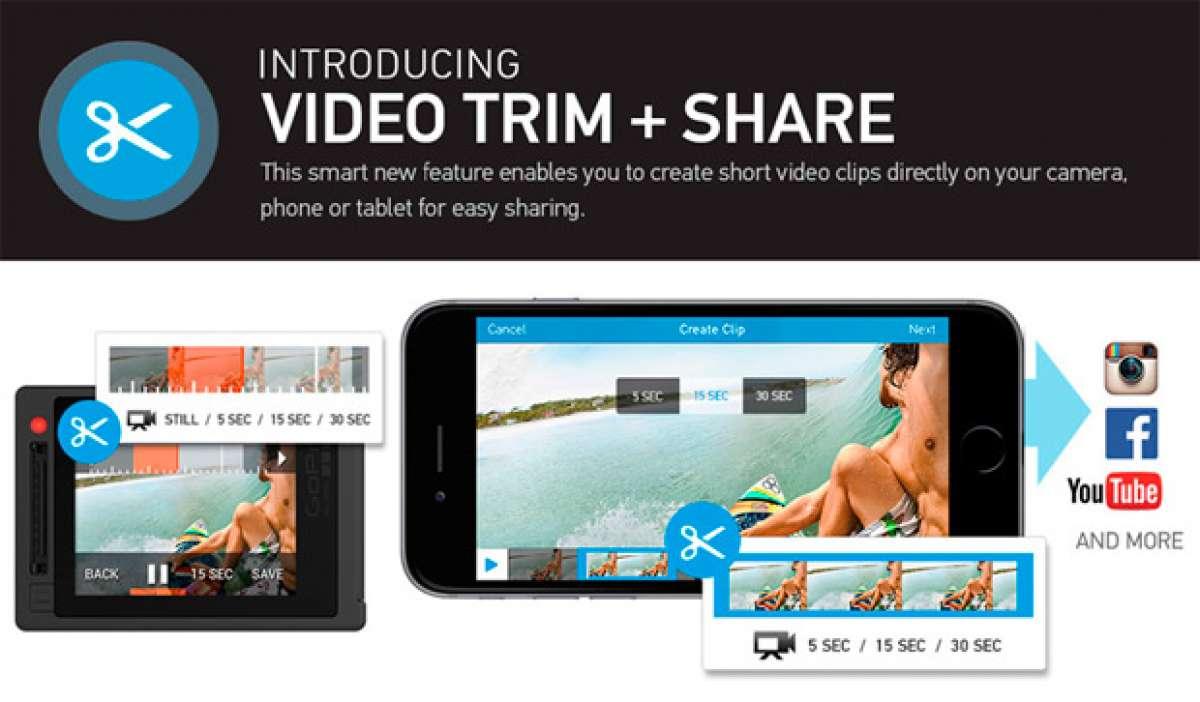 """Nueva función """"cortar y compartir"""" para las cámaras de GoPro"""