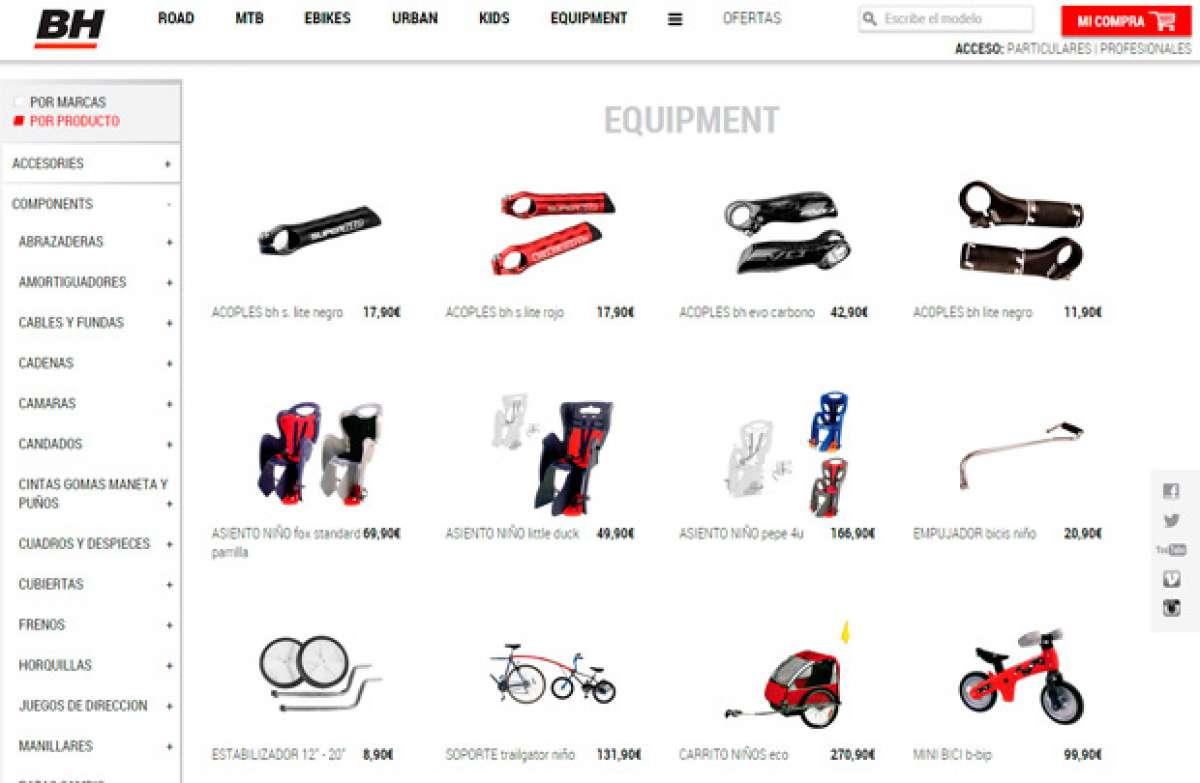 Todos los componentes y accesorios distribuidos por BH Bikes, ya disponibles en su nueva tienda online