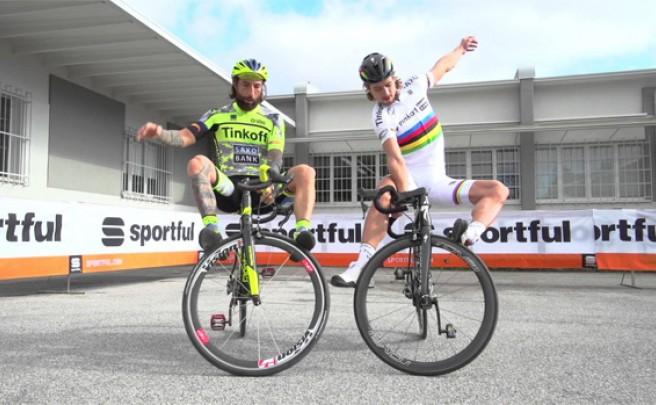 Divertida (y acrobática) visita de Peter Sagan y Vittorio Brumotti a la sede de Sportful