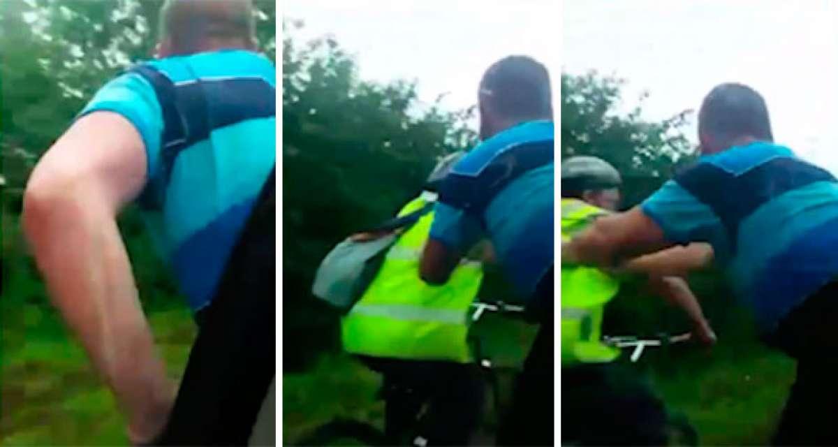 Así se divierten algunos energúmenos... tirando ciclistas desde un coche en movimiento