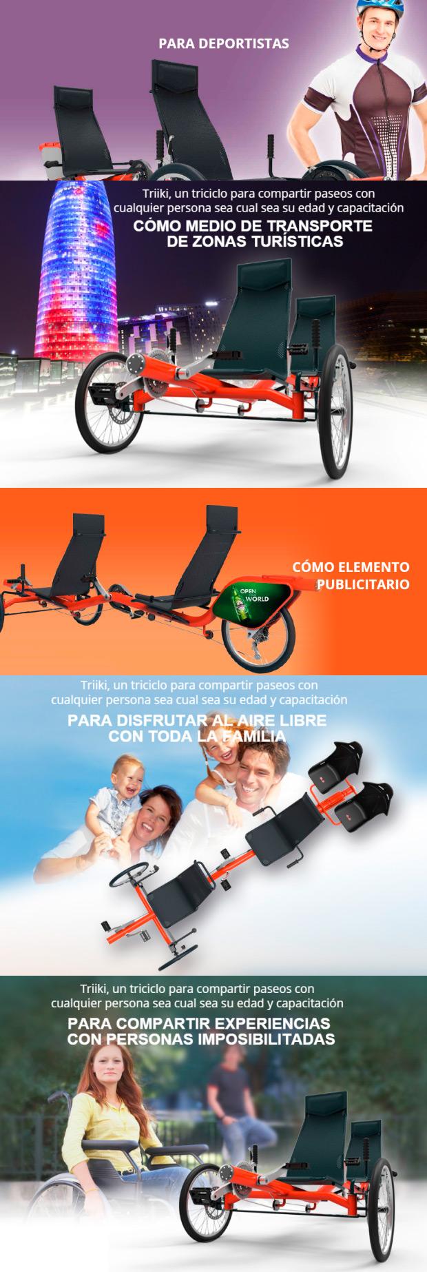 Triiki, un tándem de tres ruedas para disfrutar de la bicicleta en familia