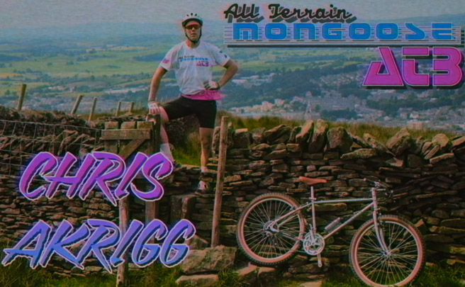 Chris Akrigg rodando sobre una Mongoose All-Terrain Bike de 1985