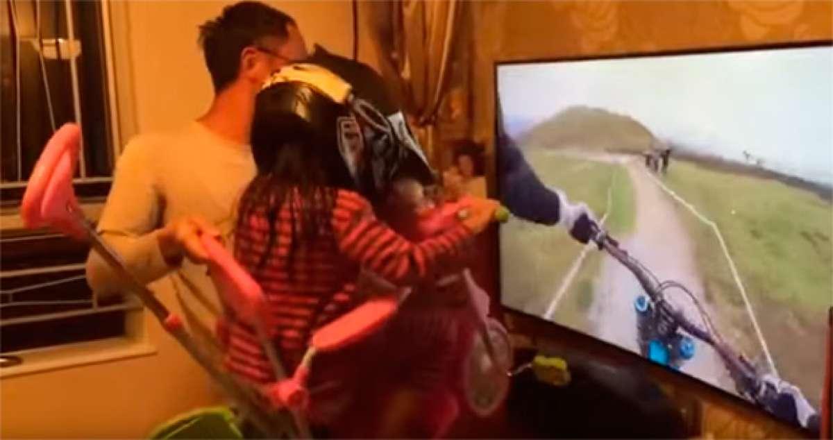 Espectacular simulador virtual (casero) de Mountain Bike