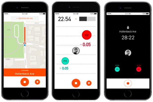 Segmentos en vivo para las aplicaciones móviles (iPhone y Android) de Strava
