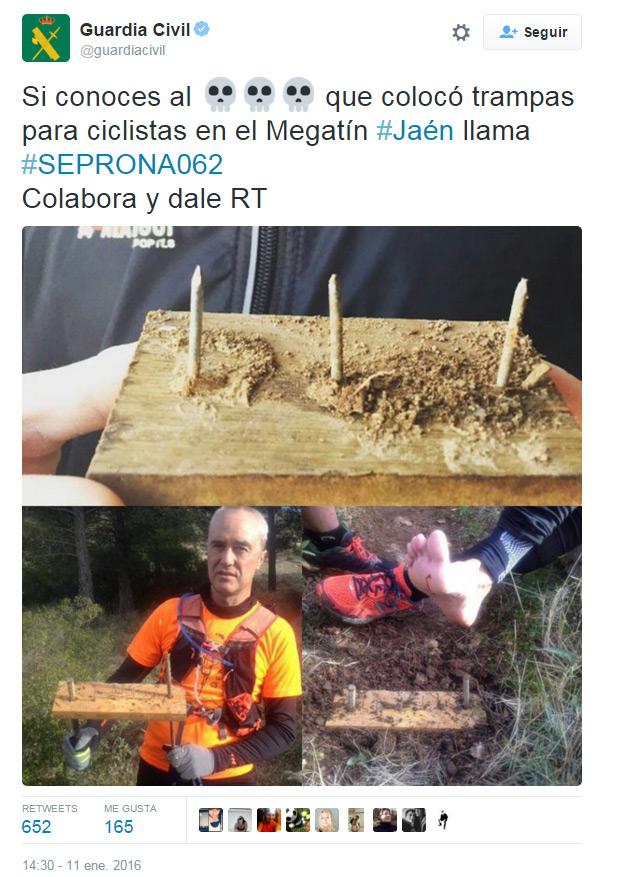 Alerta en Jaén: Trampas para deportistas en los montes de Torredelcampo