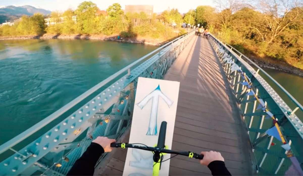 Fabio Wibmer + Un puente + Un reto en YouTube = Salto mortal sobre un río de agua helada