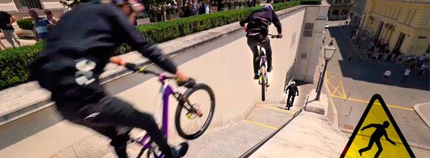 Detrás de las cámaras: así se grabó la espectacular sesión de Freeride urbano de Fabio Wibmer por las calles de Viena