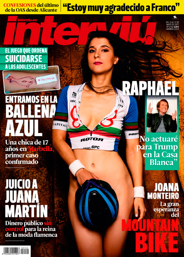 Joana Monteiro, corredora del Primaflor-Mondraker-Rotor, en la portada de Interviú
