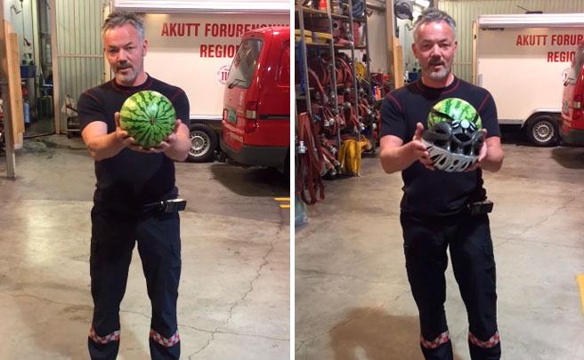 La importancia de llevar casco sobre una bicicleta, explicada por un bombero con una sandía