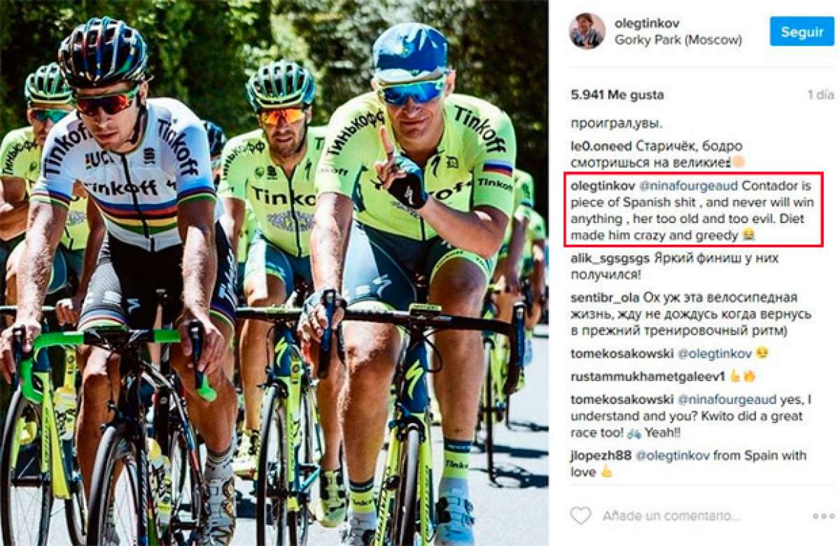 """En TodoMountainBike: La última de Oleg Tinkov sobre Alberto Contador: """"Es un pedazo de mierda española"""""""