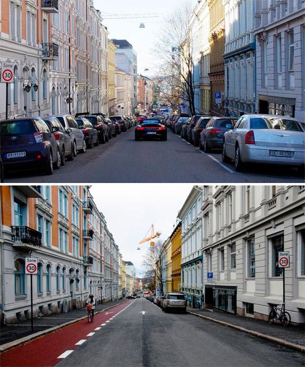 La solución de Oslo para reducir el tráfico de coches: eliminar los aparcamientos en las calles