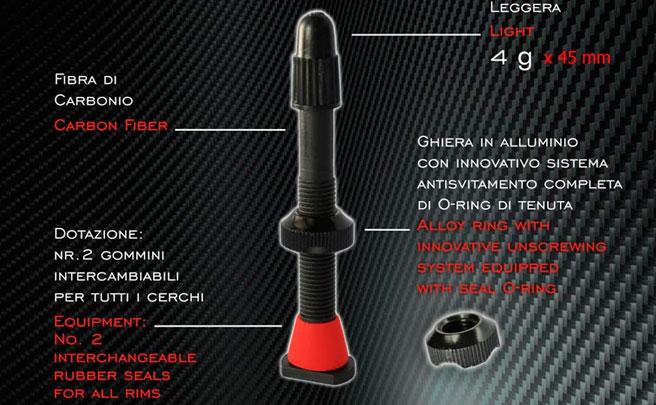 Para amantes de los pesos ligeros: Barbieri Carbonaria, válvulas 'tubeless' fabricadas en fibra de carbono