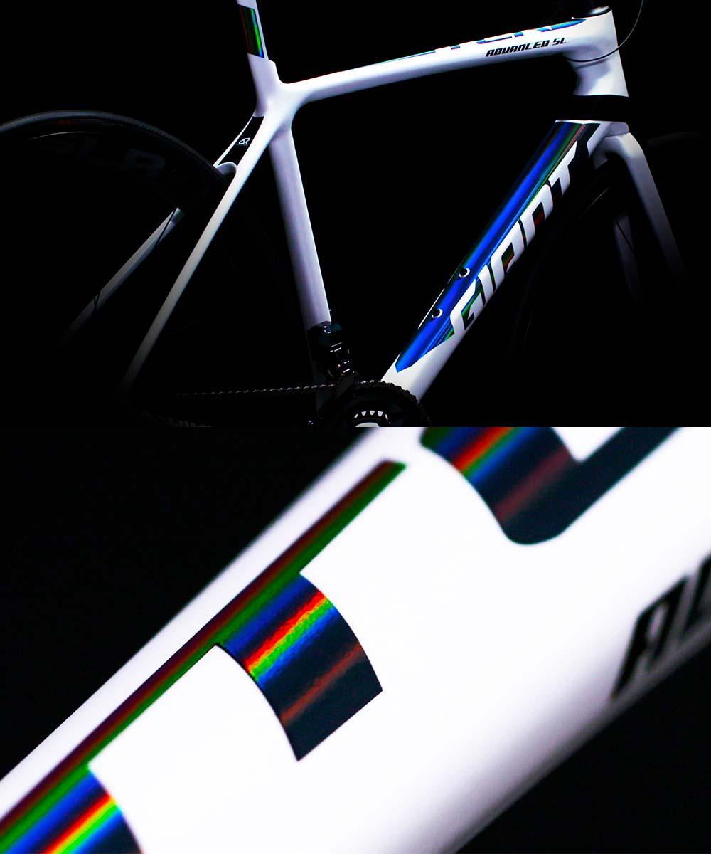 Las cuatro decoraciones de las bicicletas Giant y Liv de 2019: Iris, Sunbow, Rainbow y Chameleon