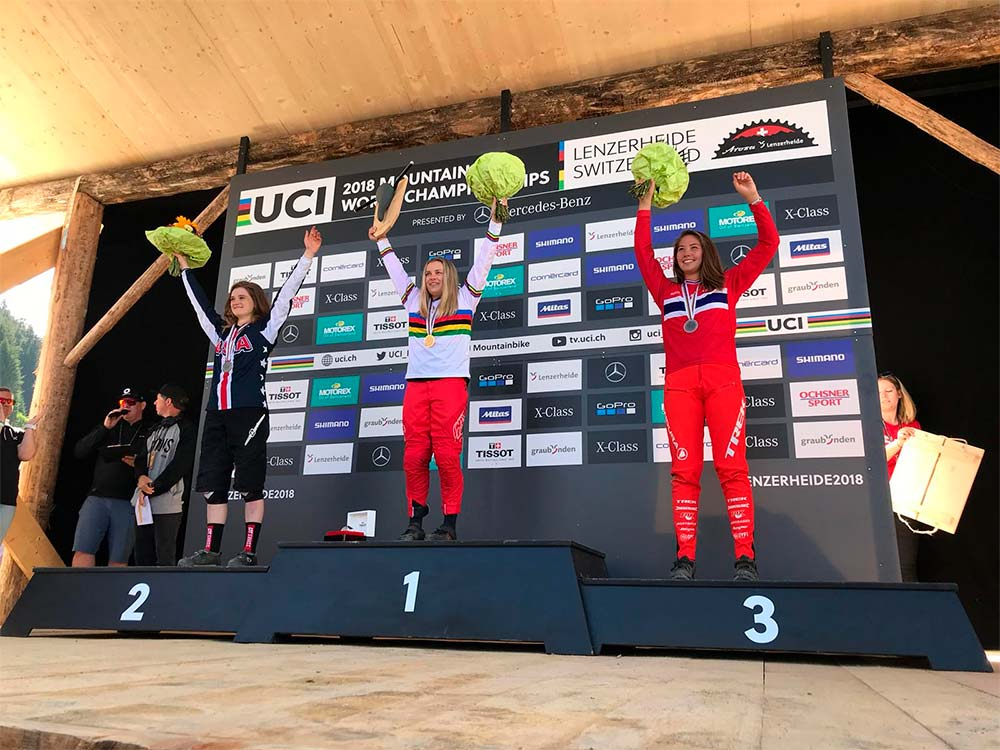 En TodoMountainBike: Kade Edwards y Valentina Holl, campeones del mundo Junior en el Mundial DHI 2018 de Lenzerheide