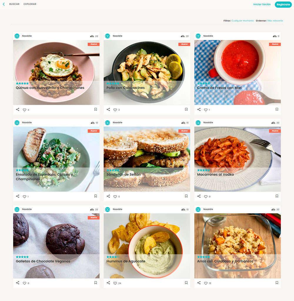 Nooddle, una aplicación móvil que sugiere recetas saludables con lo que el usuario tiene en la nevera