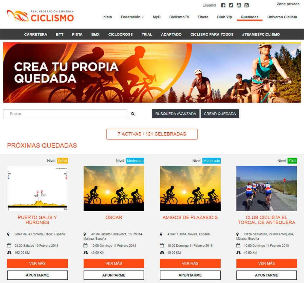 """En marcha """"Quedadas Ciclistas"""", una iniciativa de la RFEC para encontrar compañeros de ruta por toda España"""