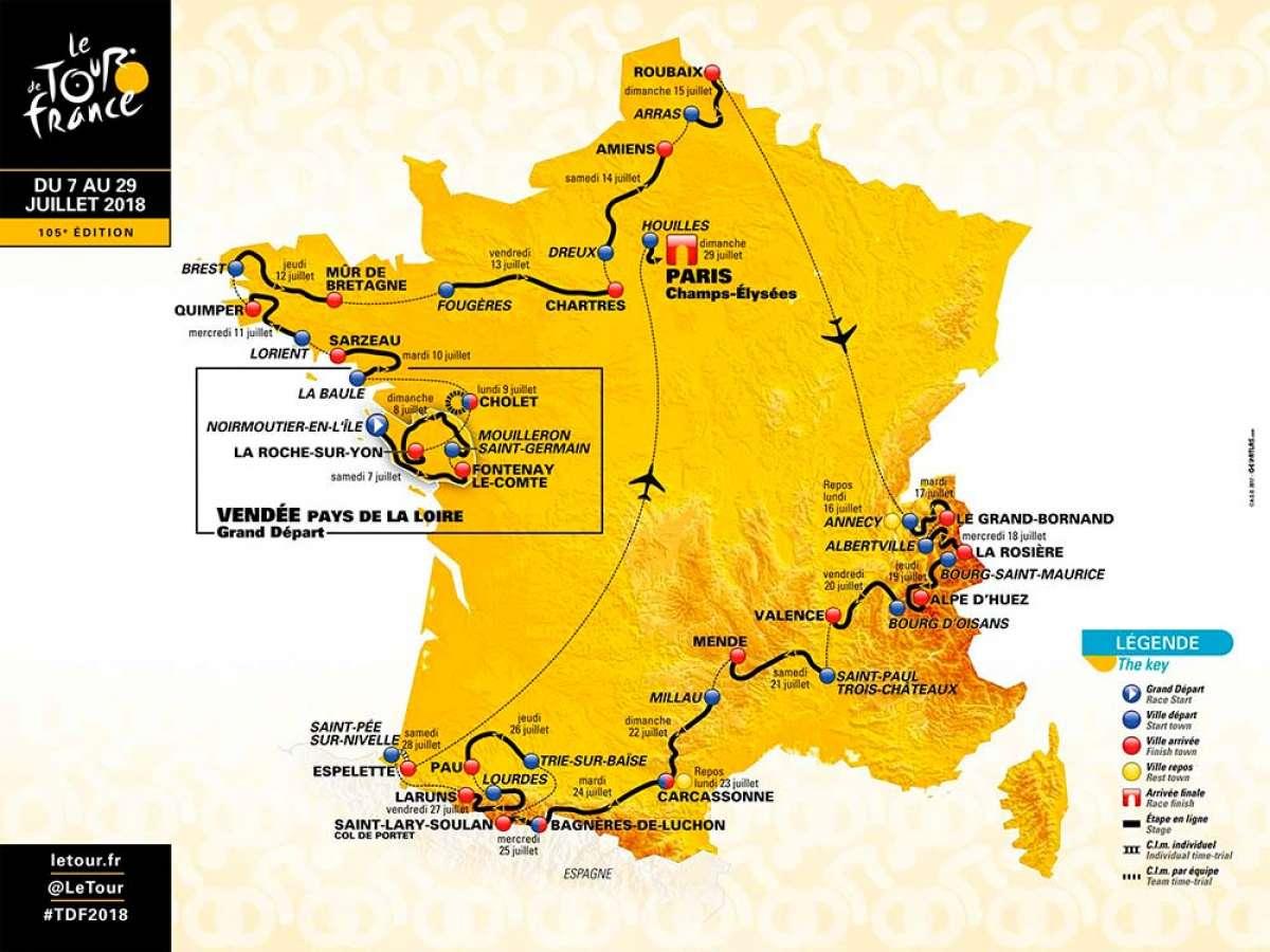 El recorrido del Tour de Francia 2018, al completo
