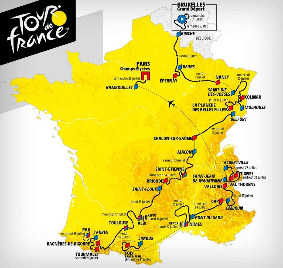 El recorrido del Tour de Francia 2019, al completo