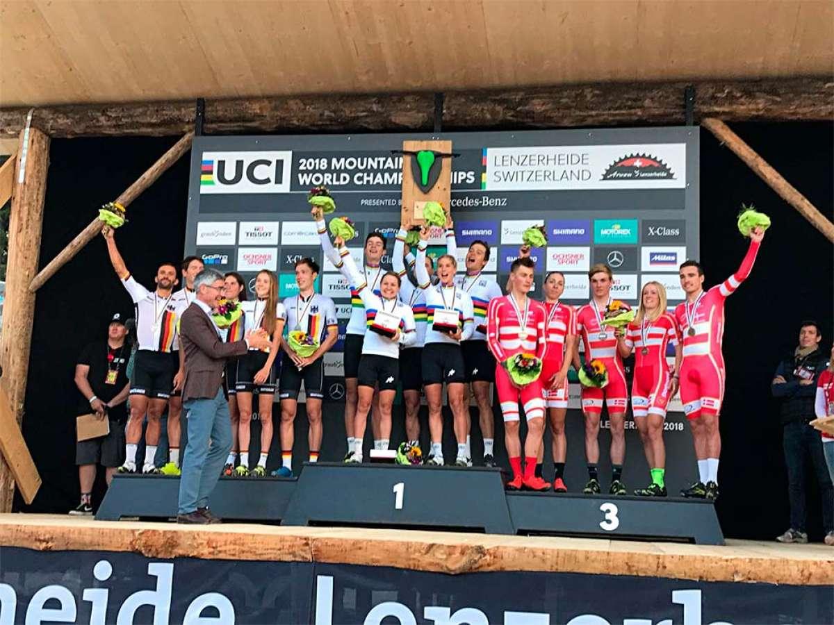 La selección suiza, campeona del mundo en el Team Relay de Lenzerheide