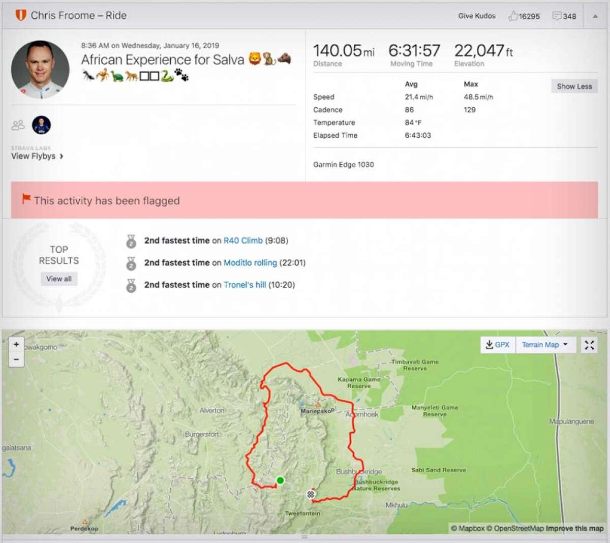 Entrenamiento de Froome: 225 kilómetros con 6.720 metros de ascensión a una media de 34.5 km/h