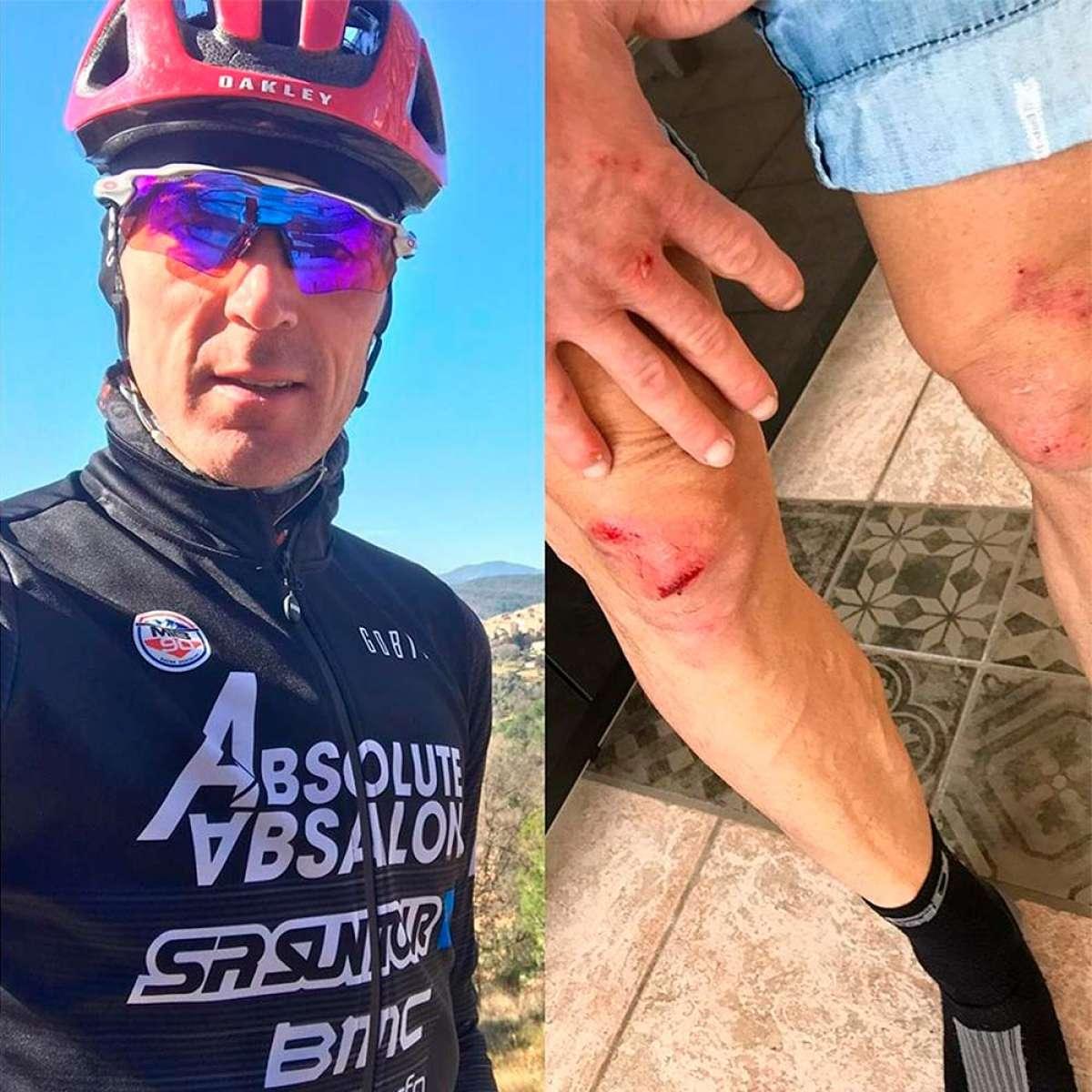 """Julien Absalon choca con un coche mientras entrenaba: """"Conductores, usen los intermitentes"""""""