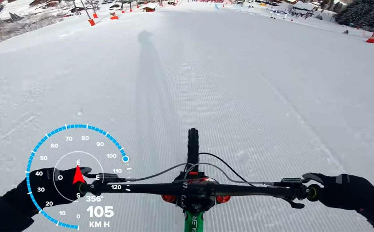 Vincent Tupin rodando a más de 100 km/h en la Alpine Snow Bike de Châtel